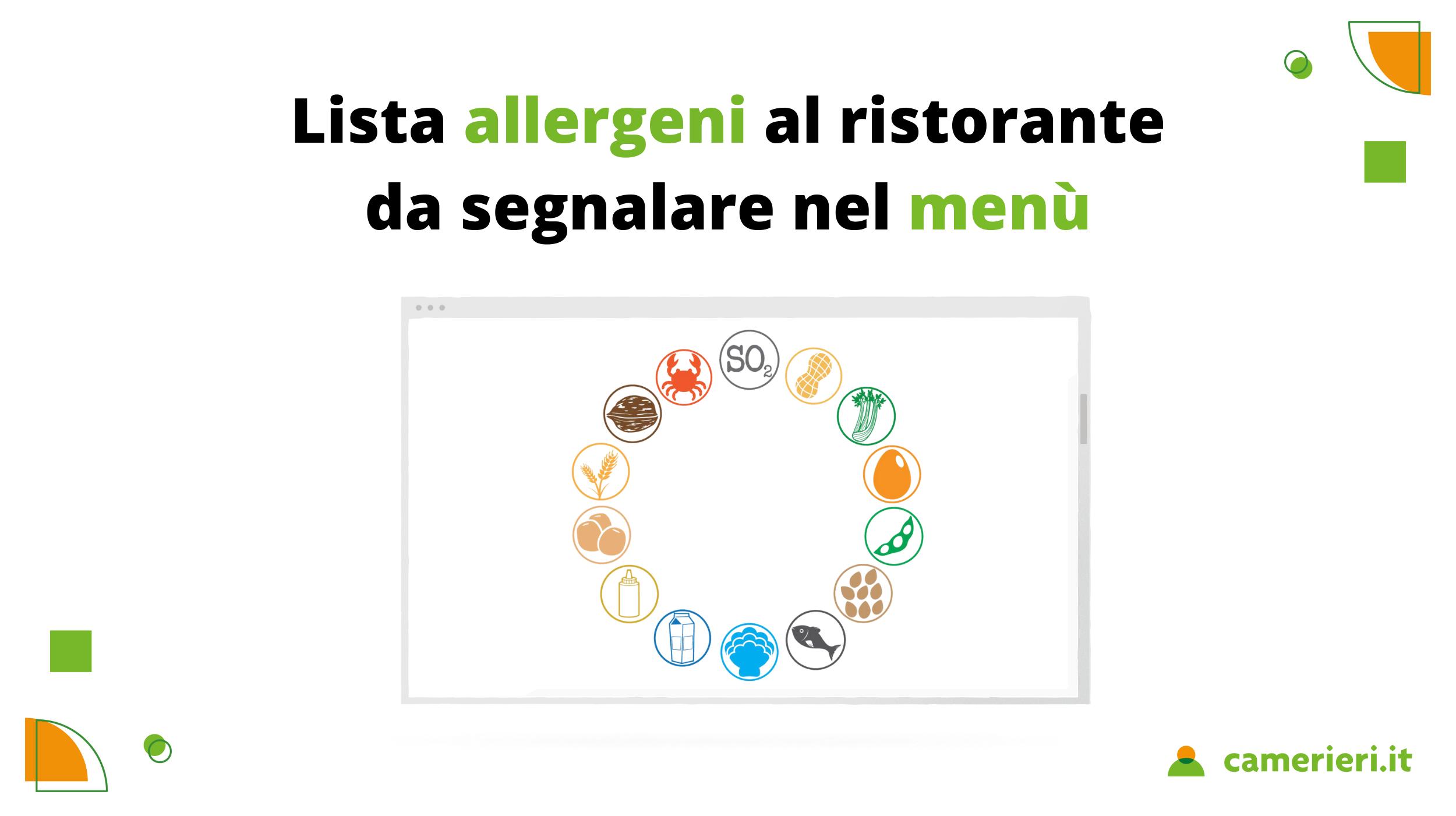 Lista allergeni nel menù